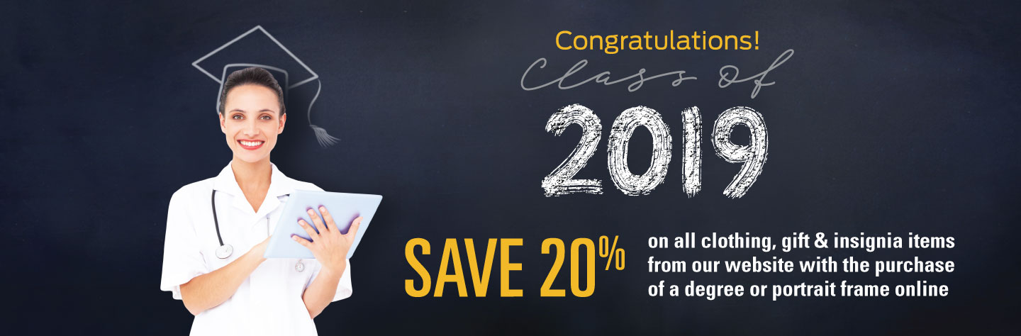 Save 20% on all clothing, gift & insignia items from our website with the purchase of a degree or portrait frame online
