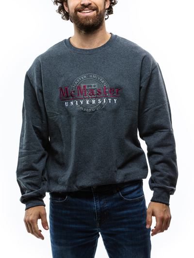 Circle Crest Embroidered Crew Neck Sweatshirt