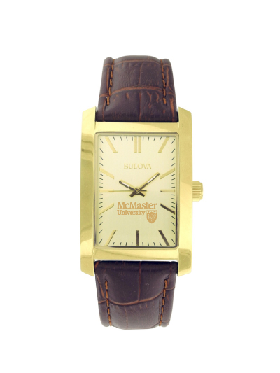 McMaster Men's Rectangular Gold Dial Brown Strap Watch
