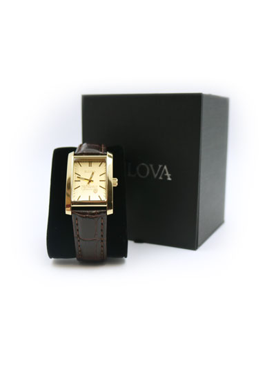 McMaster Ladies Rectangular Gold Dial Brown Strap Watch